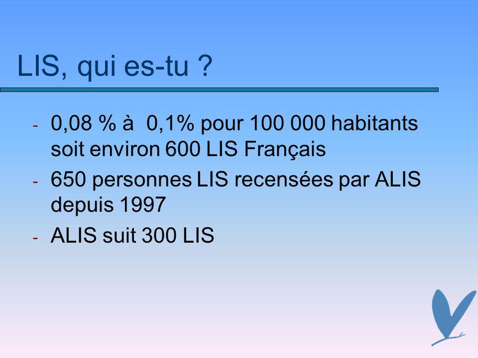 LIS, qui es-tu ? - 0,08 % à 0,1% pour 100 000 habitants soit environ 600 LIS Français - 650 personnes LIS recensées par ALIS depuis 1997 - ALIS suit 3