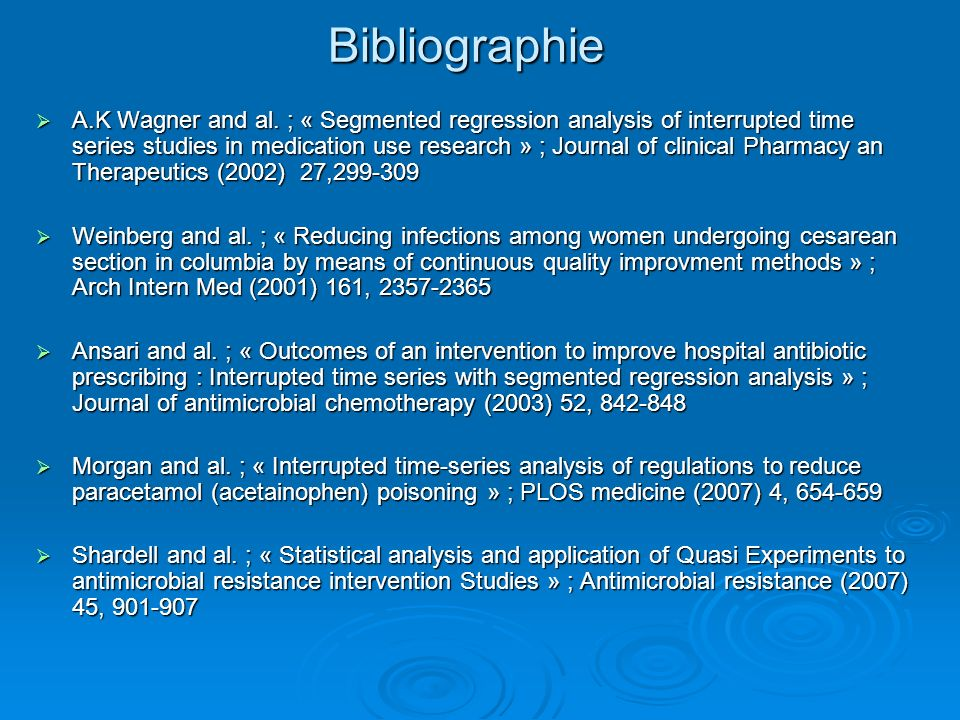 Bibliographie A.K Wagner and al. ; « Segmented regression analysis of interrupted time series studies in medication use research » ; Journal of clinic