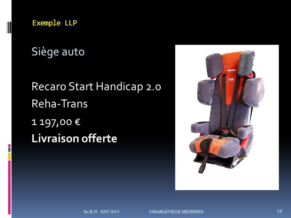 Exemple LLP Siège auto Recaro Start Handicap 2.0 Reha-Trans 1 197,00 Livraison offerte 19 So.R.N.- EST 2013 CHARLEVILLE MEZIERES