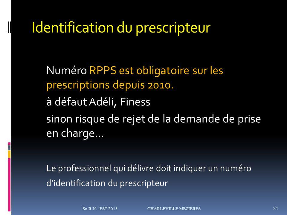 Identification du prescripteur Numéro RPPS est obligatoire sur les prescriptions depuis 2010.