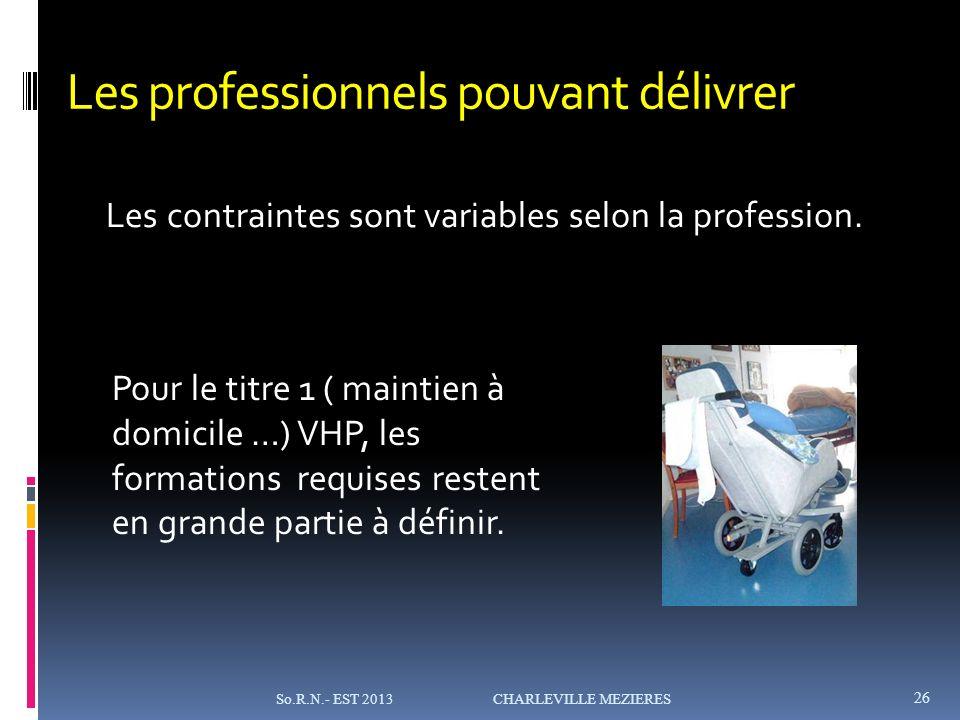 Les professionnels pouvant délivrer Les contraintes sont variables selon la profession.
