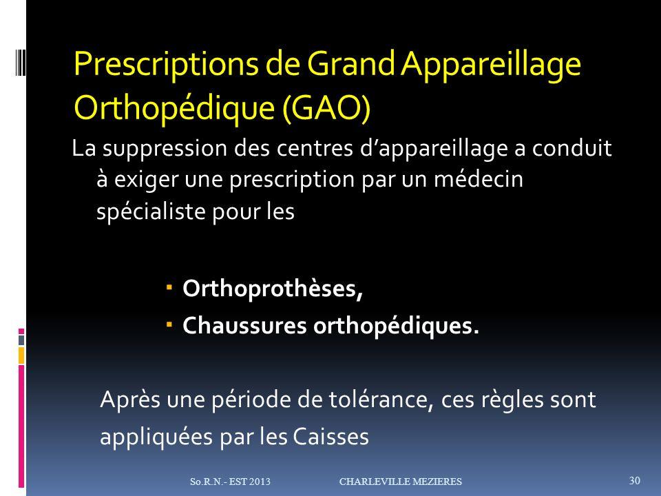 Prescriptions de Grand Appareillage Orthopédique (GAO) La suppression des centres dappareillage a conduit à exiger une prescription par un médecin spécialiste pour les Orthoprothèses, Chaussures orthopédiques.