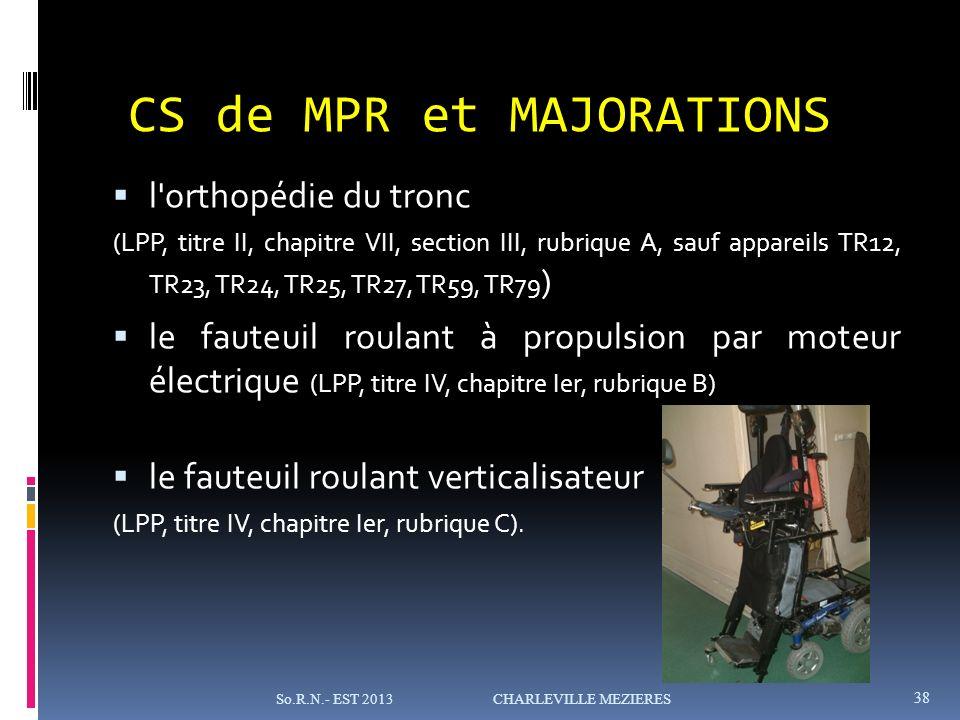 l orthopédie du tronc (LPP, titre II, chapitre VII, section III, rubrique A, sauf appareils TR12, TR23, TR24, TR25, TR27, TR59, TR79 ) le fauteuil roulant à propulsion par moteur électrique (LPP, titre IV, chapitre Ier, rubrique B) le fauteuil roulant verticalisateur (LPP, titre IV, chapitre Ier, rubrique C).