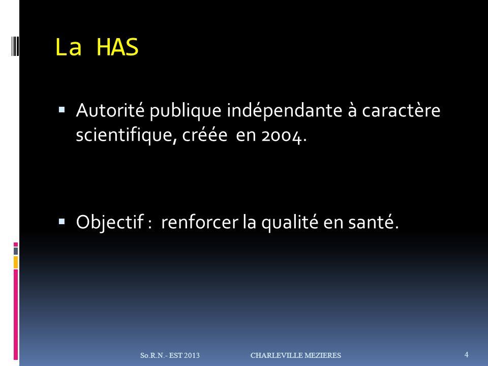 La HAS Autorité publique indépendante à caractère scientifique, créée en 2004.