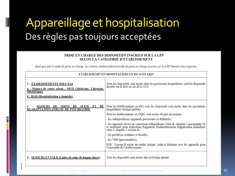 Appareillage et hospitalisation Des règles pas toujours acceptées So.R.N.- EST 2013 CHARLEVILLE MEZIERES 41