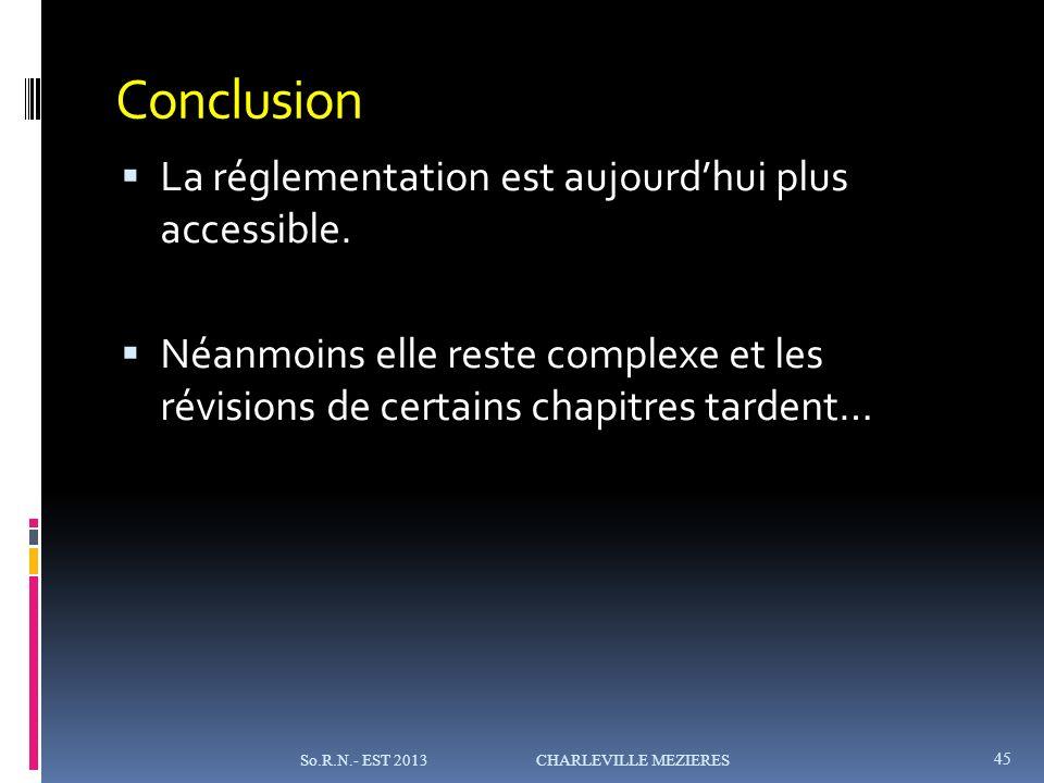 Conclusion La réglementation est aujourdhui plus accessible.