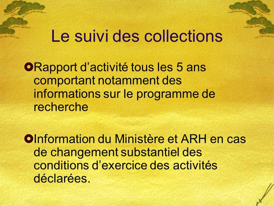 Le suivi des collections Rapport dactivité tous les 5 ans comportant notamment des informations sur le programme de recherche Information du Ministère