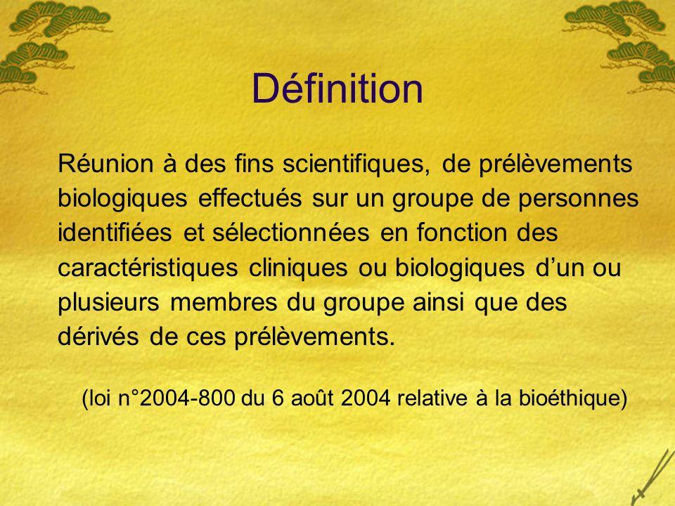 Définition Réunion à des fins scientifiques, de prélèvements biologiques effectués sur un groupe de personnes identifiées et sélectionnées en fonction