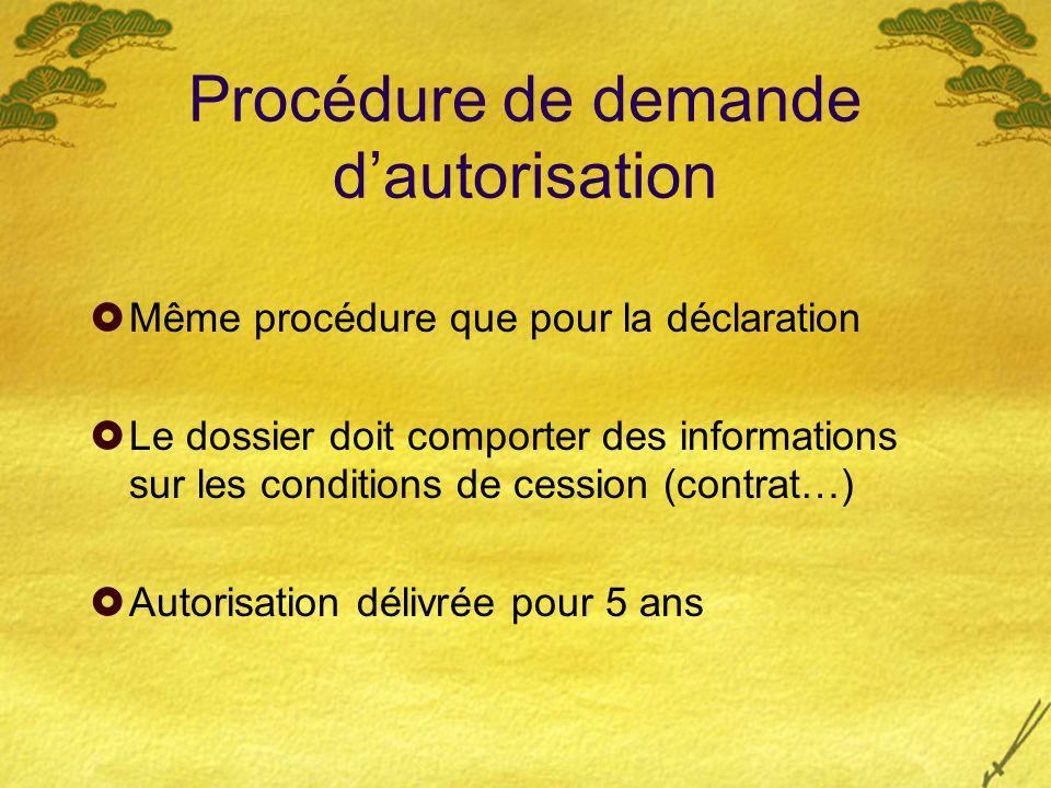 Procédure de demande dautorisation Même procédure que pour la déclaration Le dossier doit comporter des informations sur les conditions de cession (co