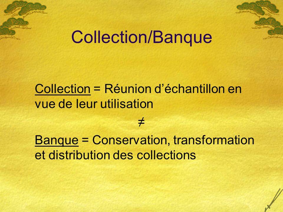 Collection/Banque Collection = Réunion déchantillon en vue de leur utilisation Banque = Conservation, transformation et distribution des collections