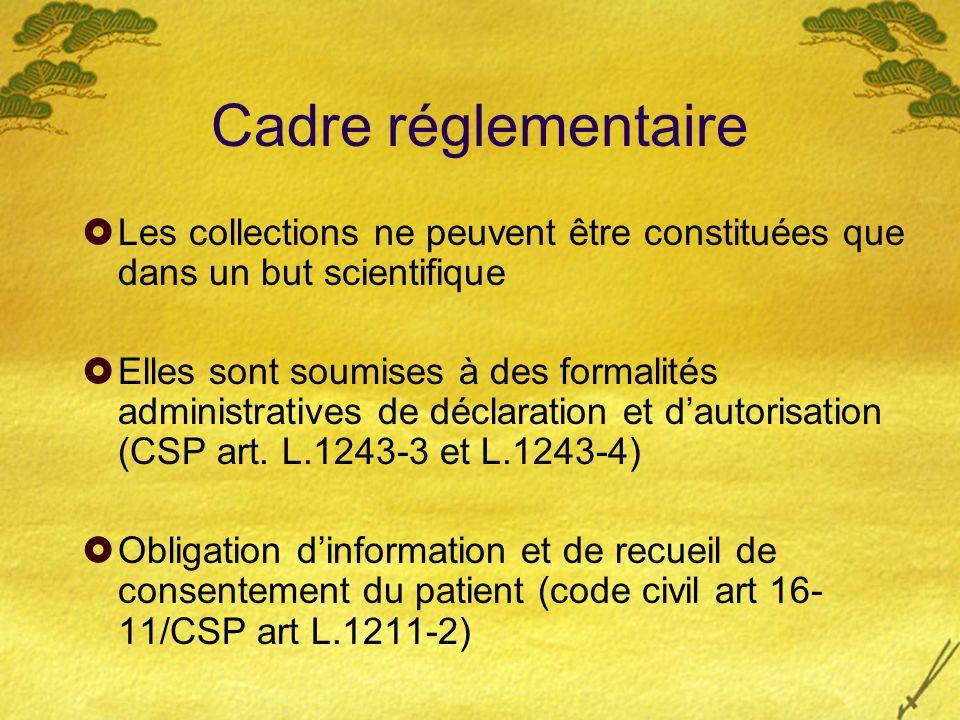 Cadre réglementaire Les collections ne peuvent être constituées que dans un but scientifique Elles sont soumises à des formalités administratives de d
