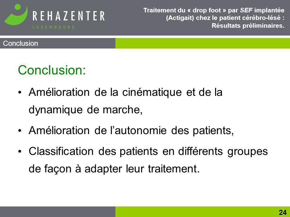 Conclusion 24 Traitement du « drop foot » par SEF implantée (Actigait) chez le patient cérébro-lésé : Résultats préliminaires.