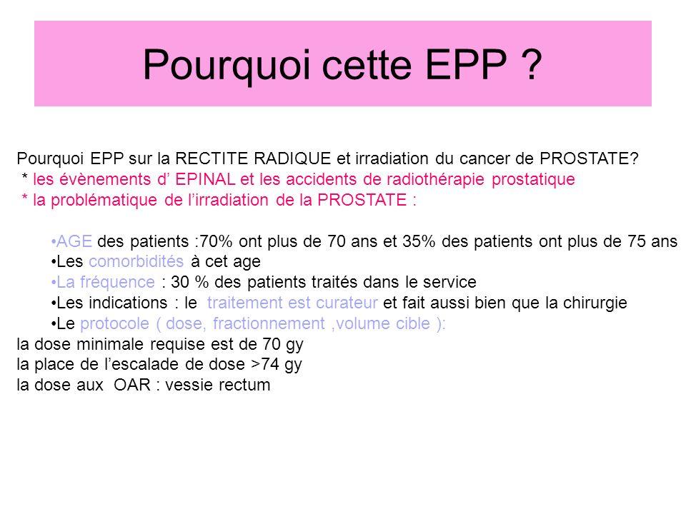 Pourquoi cette EPP ? Pourquoi EPP sur la RECTITE RADIQUE et irradiation du cancer de PROSTATE? * les évènements d EPINAL et les accidents de radiothér
