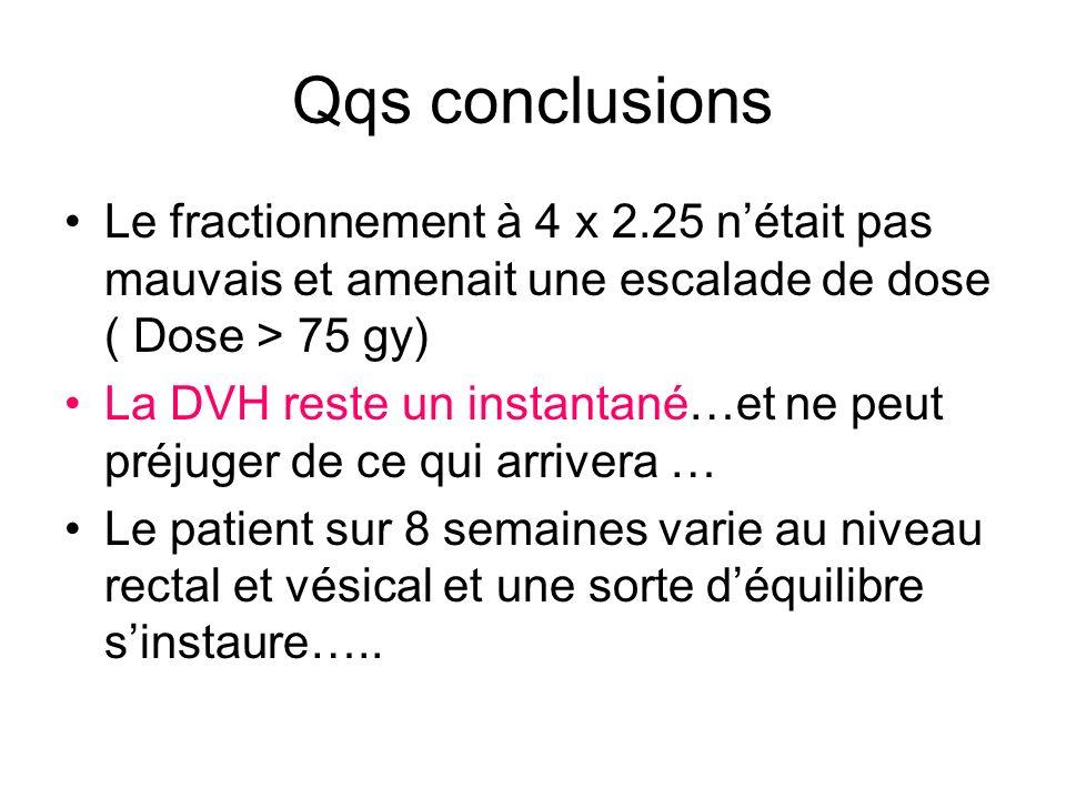 Qqs conclusions Le fractionnement à 4 x 2.25 nétait pas mauvais et amenait une escalade de dose ( Dose > 75 gy) La DVH reste un instantané…et ne peut