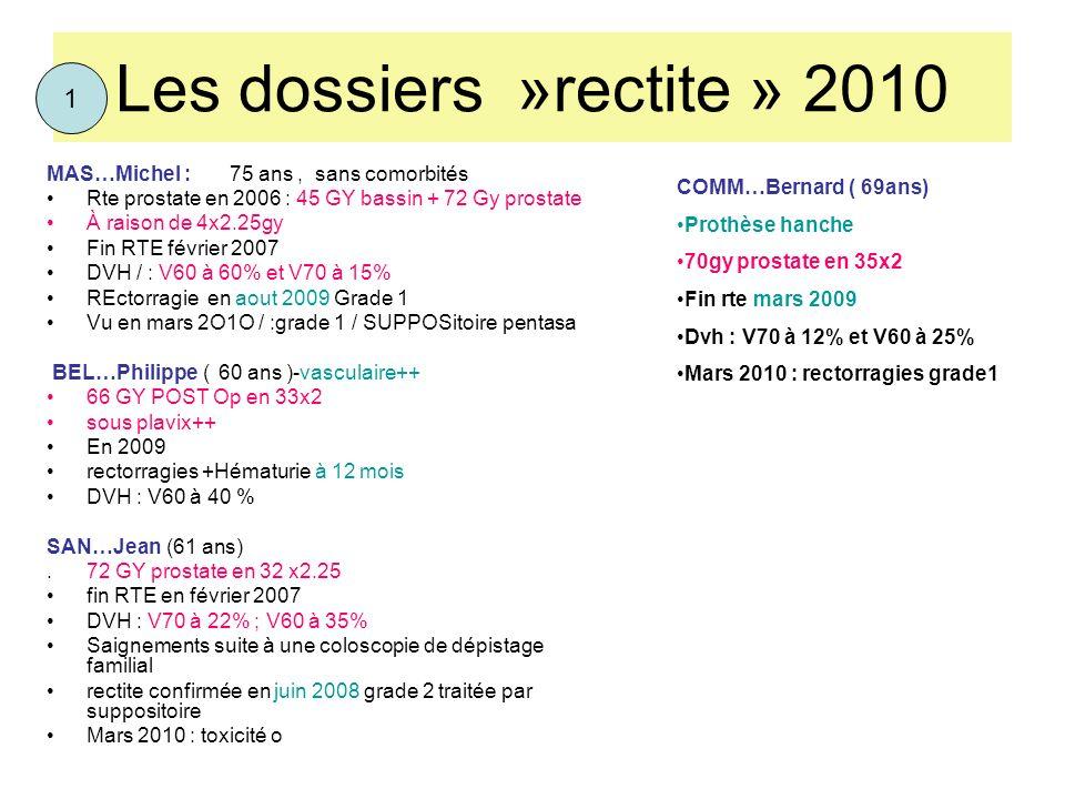 Les dossiers »rectite » 2010 MAS…Michel : 75 ans, sans comorbités Rte prostate en 2006 : 45 GY bassin + 72 Gy prostate À raison de 4x2.25gy Fin RTE fé