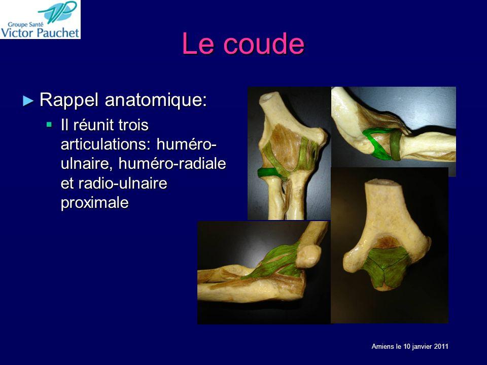 Le coude Rappel anatomique: Rappel anatomique: Il réunit trois articulations: huméro- ulnaire, huméro-radiale et radio-ulnaire proximale Il réunit trois articulations: huméro- ulnaire, huméro-radiale et radio-ulnaire proximale Amiens le 10 janvier 2011