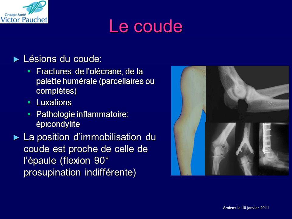 Le coude Lésions du coude: Lésions du coude: Fractures: de lolécrane, de la palette humérale (parcellaires ou complètes) Fractures: de lolécrane, de la palette humérale (parcellaires ou complètes) Luxations Luxations Pathologie inflammatoire: épicondylite Pathologie inflammatoire: épicondylite La position dimmobilisation du coude est proche de celle de lépaule (flexion 90° prosupination indifférente) La position dimmobilisation du coude est proche de celle de lépaule (flexion 90° prosupination indifférente) Amiens le 10 janvier 2011