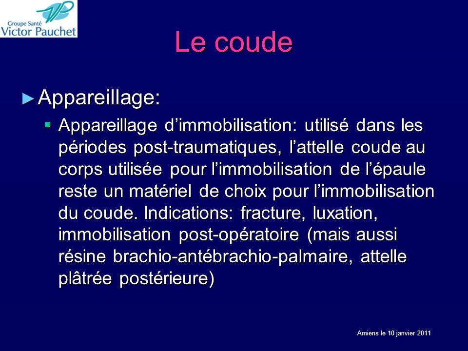 Le coude Appareillage: Appareillage: Appareillage dimmobilisation: utilisé dans les périodes post-traumatiques, lattelle coude au corps utilisée pour limmobilisation de lépaule reste un matériel de choix pour limmobilisation du coude.