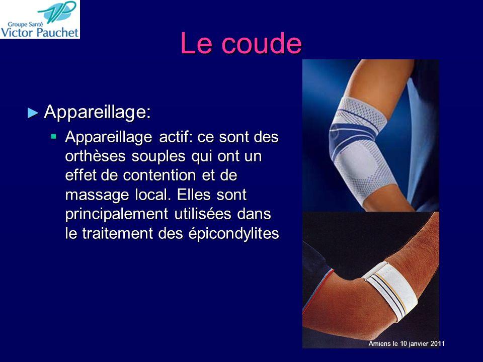 Le coude Appareillage: Appareillage: Appareillage actif: ce sont des orthèses souples qui ont un effet de contention et de massage local. Elles sont p