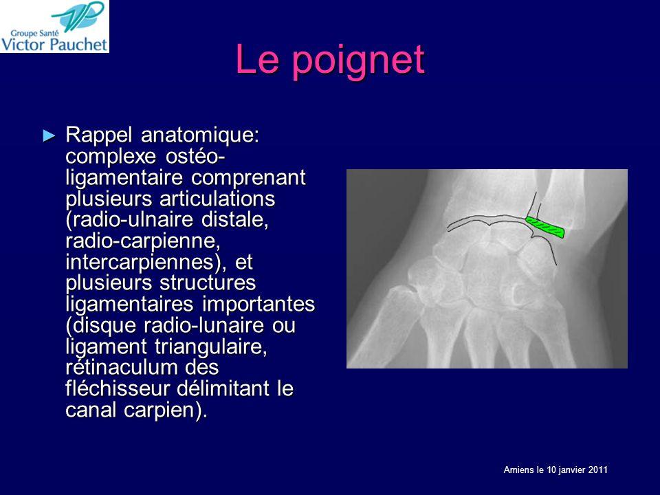 Le poignet Rappel anatomique: complexe ostéo- ligamentaire comprenant plusieurs articulations (radio-ulnaire distale, radio-carpienne, intercarpiennes