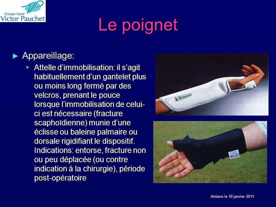 Le poignet Appareillage: Appareillage: Attelle dimmobilisation: il sagit habituellement dun gantelet plus ou moins long fermé par des velcros, prenant
