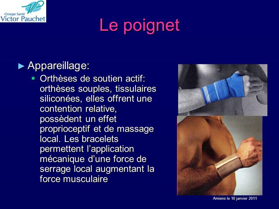 Le poignet Appareillage: Appareillage: Orthèses de soutien actif: orthèses souples, tissulaires siliconées, elles offrent une contention relative, possèdent un effet proprioceptif et de massage local.