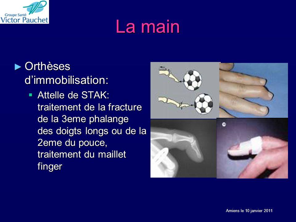 La main Orthèses dimmobilisation: Orthèses dimmobilisation: Attelle de STAK: traitement de la fracture de la 3eme phalange des doigts longs ou de la 2eme du pouce, traitement du maillet finger Attelle de STAK: traitement de la fracture de la 3eme phalange des doigts longs ou de la 2eme du pouce, traitement du maillet finger Amiens le 10 janvier 2011