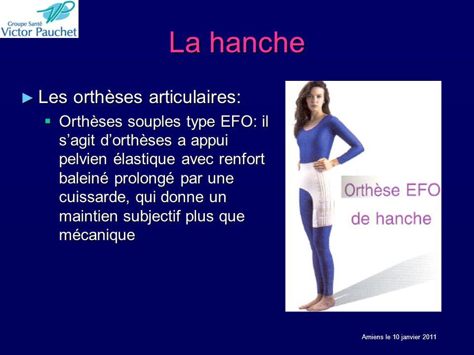 La hanche Les orthèses articulaires: Les orthèses articulaires: Orthèses souples type EFO: il sagit dorthèses a appui pelvien élastique avec renfort b