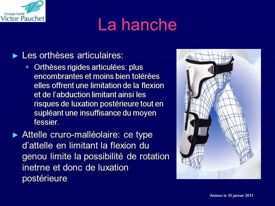 La hanche Les orthèses articulaires: Les orthèses articulaires: Orthèses rigides articulées: plus encombrantes et moins bien tolérées elles offrent un