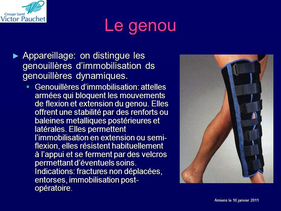 Le genou Appareillage: on distingue les genouillères dimmobilisation ds genouillères dynamiques.