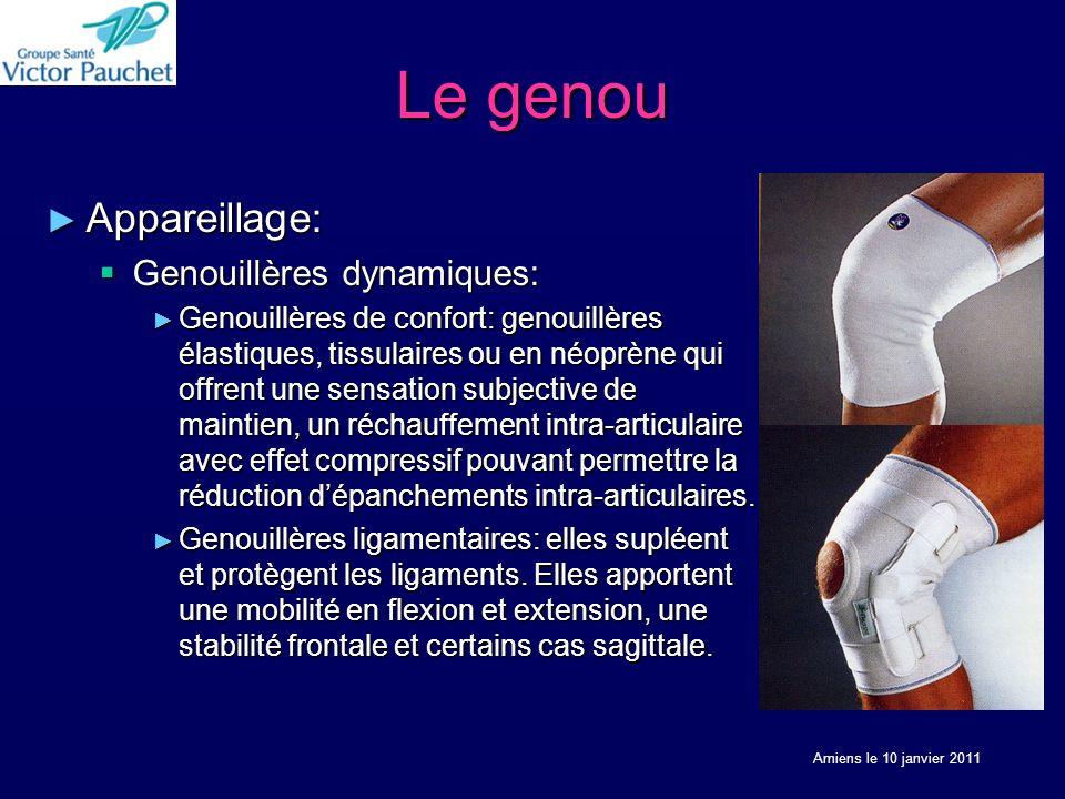 Le genou Appareillage: Appareillage: Genouillères dynamiques: Genouillères dynamiques: Genouillères de confort: genouillères élastiques, tissulaires o