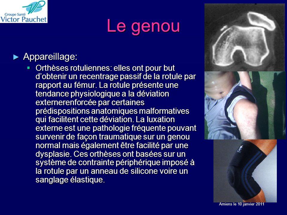 Le genou Appareillage: Appareillage: Orthèses rotuliennes: elles ont pour but dobtenir un recentrage passif de la rotule par rapport au fémur.