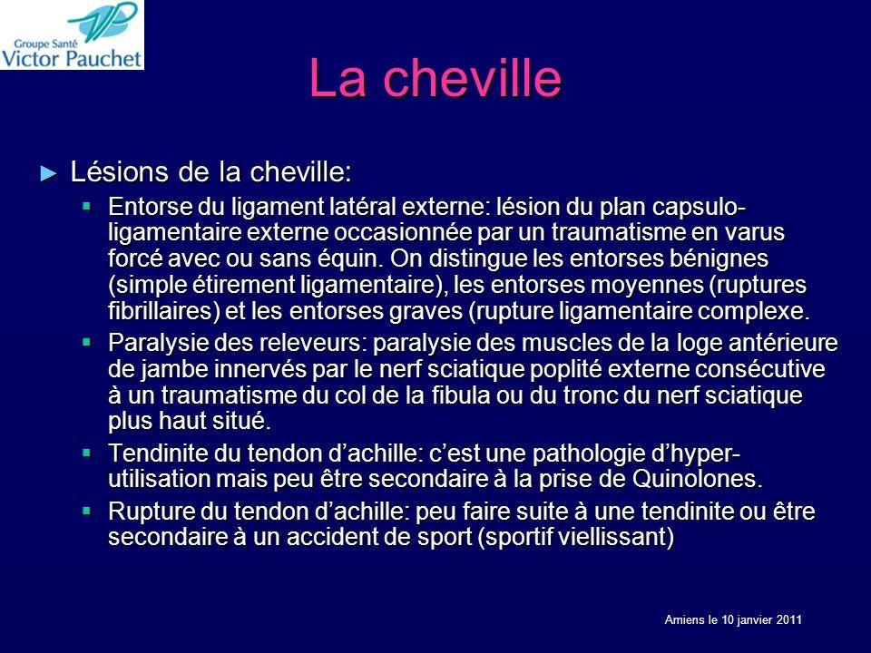 La cheville Lésions de la cheville: Lésions de la cheville: Entorse du ligament latéral externe: lésion du plan capsulo- ligamentaire externe occasion