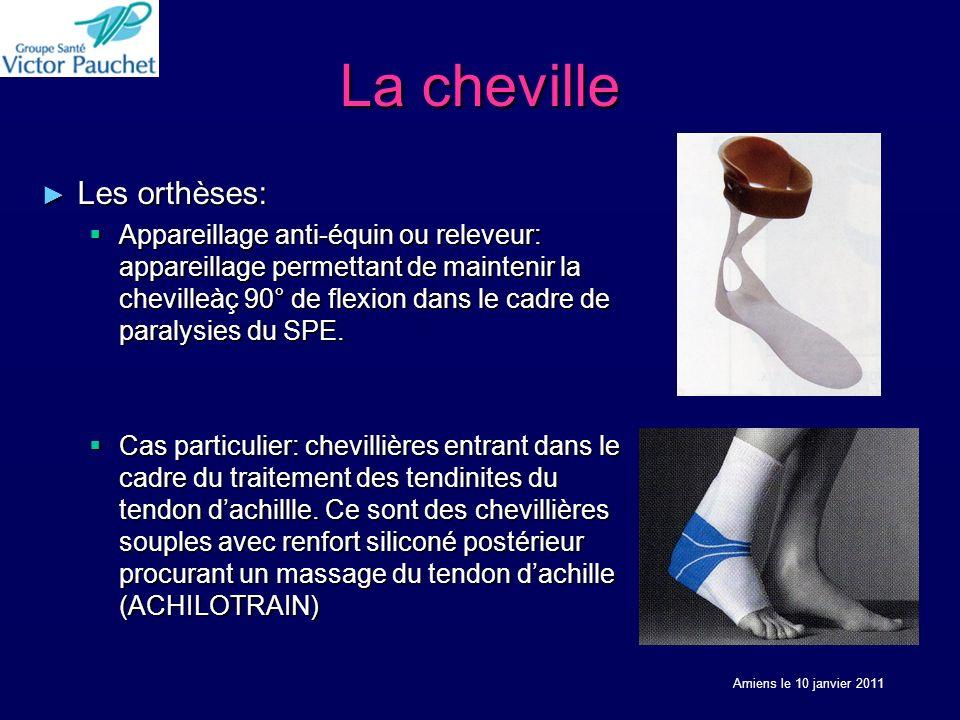 La cheville Les orthèses: Les orthèses: Appareillage anti-équin ou releveur: appareillage permettant de maintenir la chevilleàç 90° de flexion dans le cadre de paralysies du SPE.