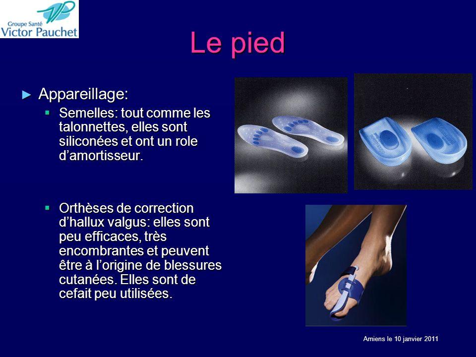 Le pied Appareillage: Appareillage: Semelles: tout comme les talonnettes, elles sont siliconées et ont un role damortisseur.