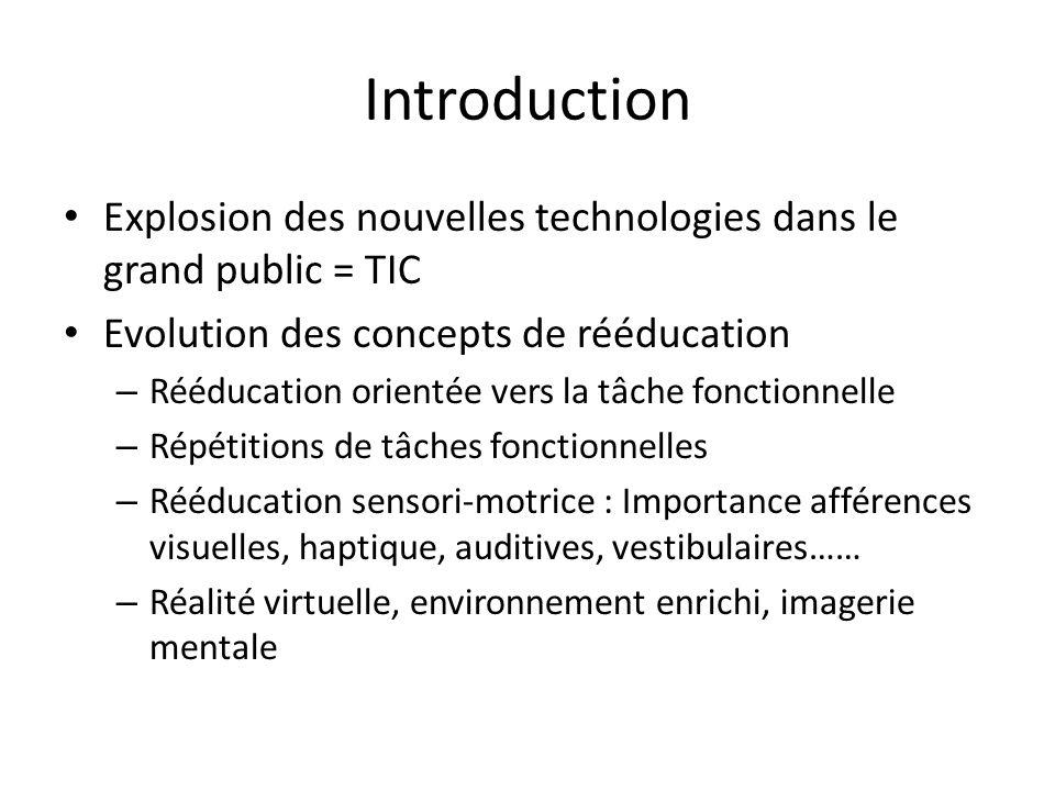 Introduction Explosion des nouvelles technologies dans le grand public = TIC Evolution des concepts de rééducation – Rééducation orientée vers la tâch