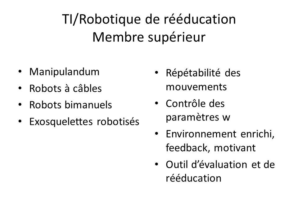 TI/Robotique de rééducation Membre supérieur Manipulandum Robots à câbles Robots bimanuels Exosquelettes robotisés Répétabilité des mouvements Contrôl