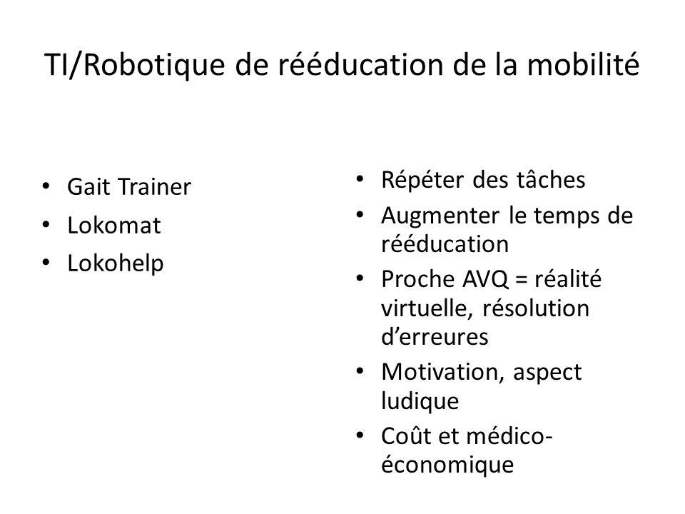 TI/Robotique de rééducation de la mobilité Gait Trainer Lokomat Lokohelp Répéter des tâches Augmenter le temps de rééducation Proche AVQ = réalité vir