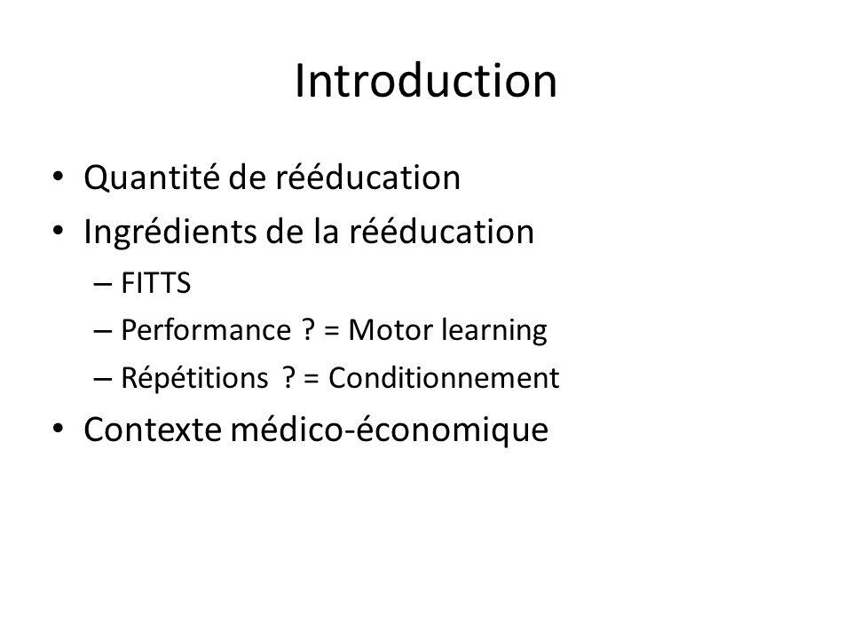 Introduction Quantité de rééducation Ingrédients de la rééducation – FITTS – Performance ? = Motor learning – Répétitions ? = Conditionnement Contexte