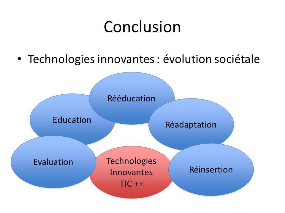 Conclusion Technologies innovantes : évolution sociétale Education Rééducation Réadaptation Technologies Innovantes TIC ++ Technologies Innovantes TIC
