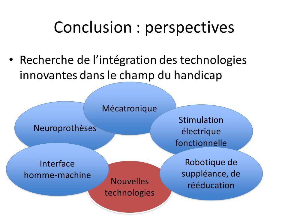 Conclusion : perspectives Recherche de lintégration des technologies innovantes dans le champ du handicap Neuroprothèses Mécatronique Stimulation élec