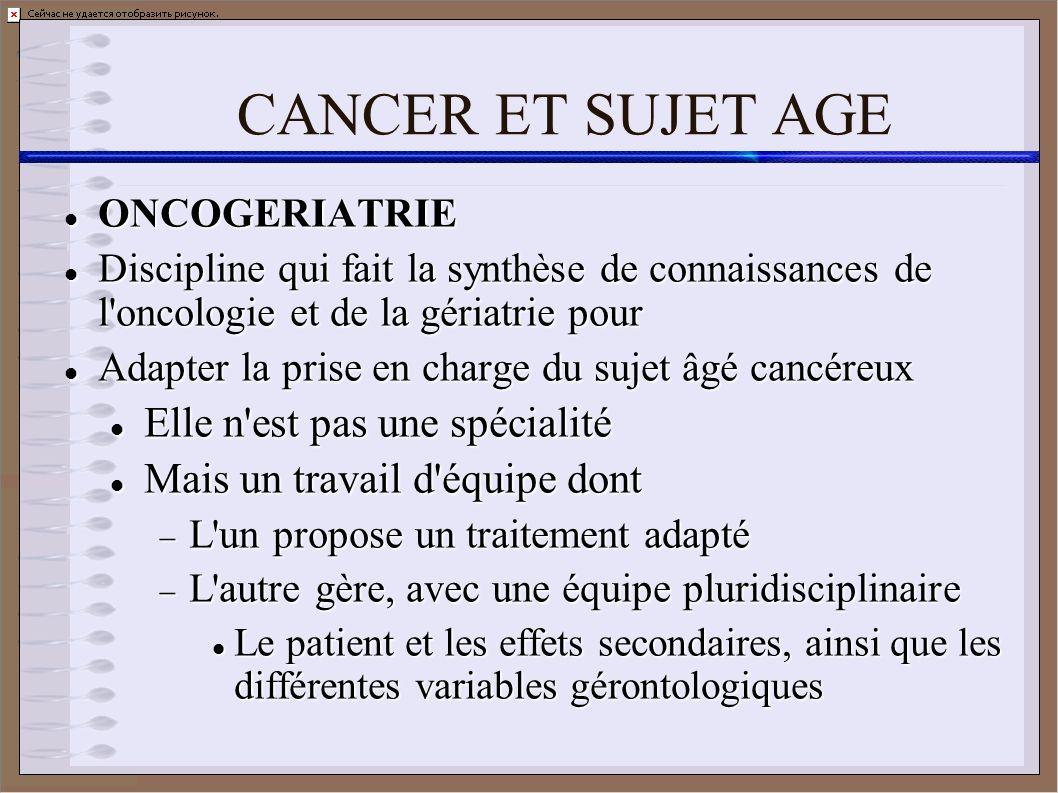 CANCER ET SUJET AGE ONCOGERIATRIE ONCOGERIATRIE Discipline qui fait la synthèse de connaissances de l'oncologie et de la gériatrie pour Discipline qui