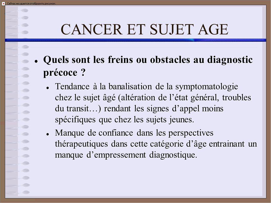 CANCER ET SUJET AGE Quels sont les freins ou obstacles au diagnostic précoce ? Quels sont les freins ou obstacles au diagnostic précoce ? Tendance à l