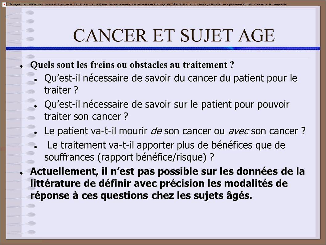 CANCER ET SUJET AGE Quels sont les freins ou obstacles au traitement ? Quels sont les freins ou obstacles au traitement ? Quest-il nécessaire de savoi