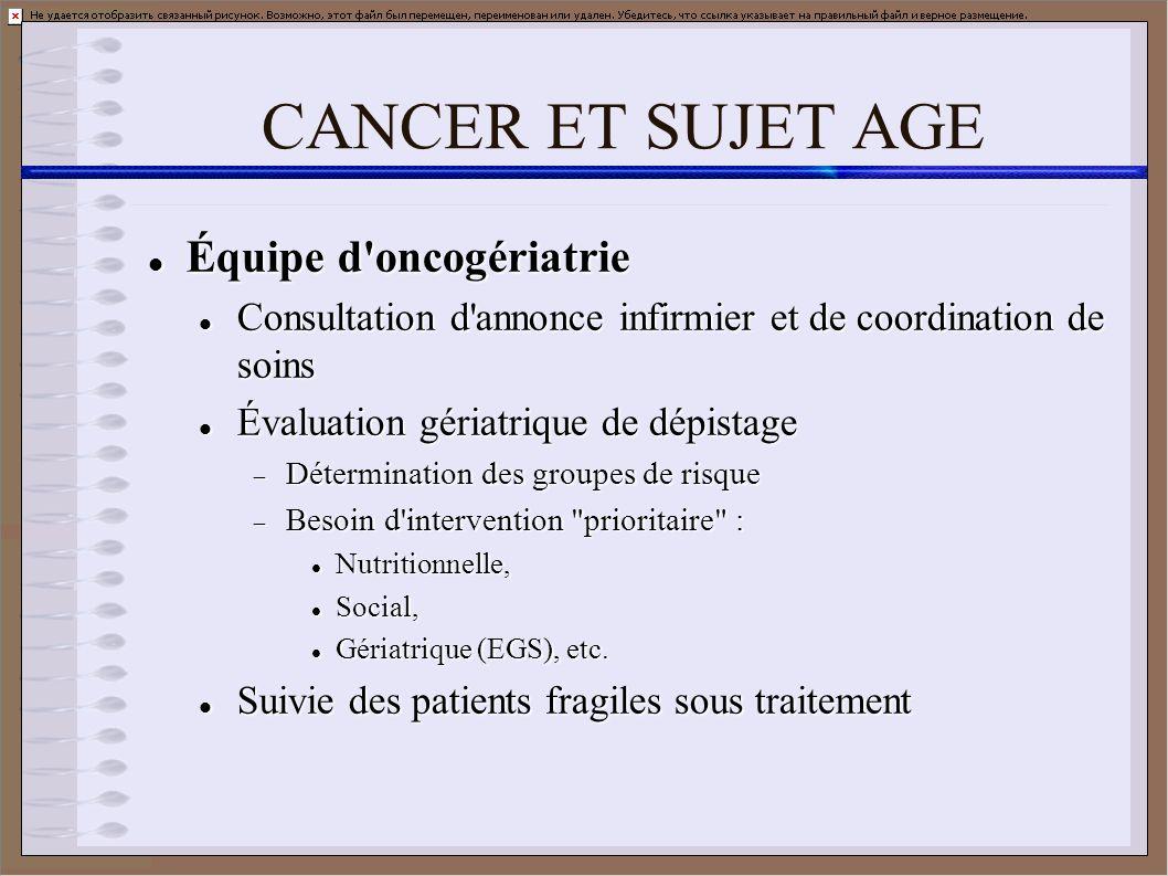 CANCER ET SUJET AGE Équipe d'oncogériatrie Équipe d'oncogériatrie Consultation d'annonce infirmier et de coordination de soins Consultation d'annonce