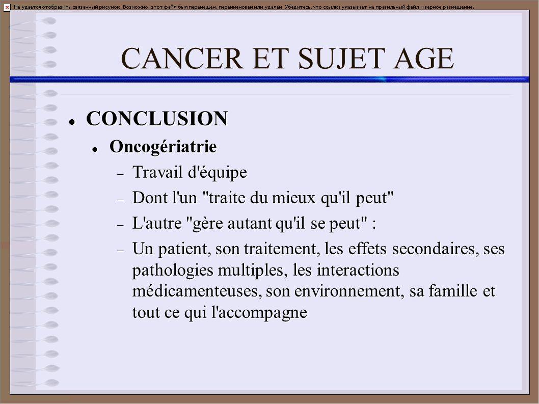 CANCER ET SUJET AGE CONCLUSION CONCLUSION Oncogériatrie Oncogériatrie Travail d'équipe Travail d'équipe Dont l'un