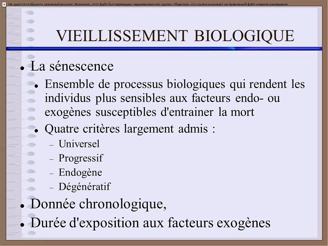 VIEILLISSEMENT BIOLOGIQUE La sénescence La sénescence Ensemble de processus biologiques qui rendent les individus plus sensibles aux facteurs endo- ou