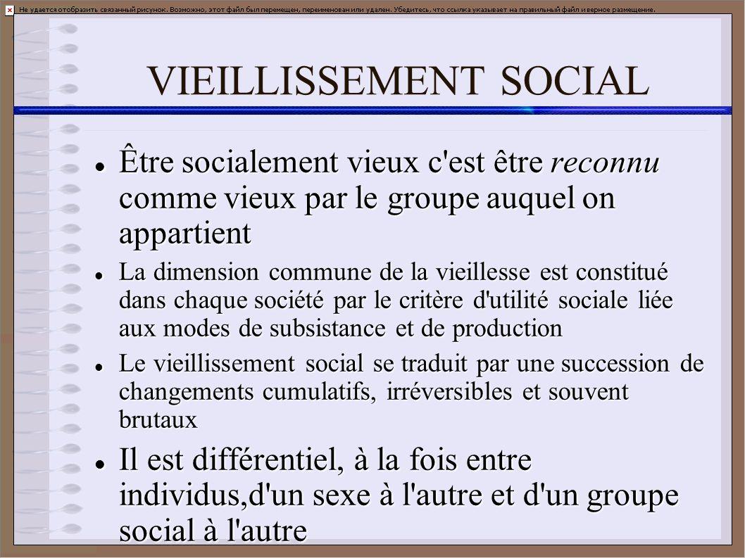 VIEILLISSEMENT SOCIAL Être socialement vieux c'est être reconnu comme vieux par le groupe auquel on appartient Être socialement vieux c'est être recon