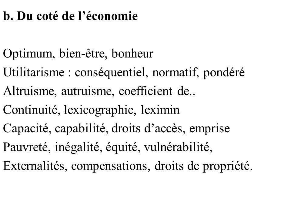 b. Du coté de léconomie Optimum, bien-être, bonheur Utilitarisme : conséquentiel, normatif, pondéré Altruisme, autruisme, coefficient de.. Continuité,