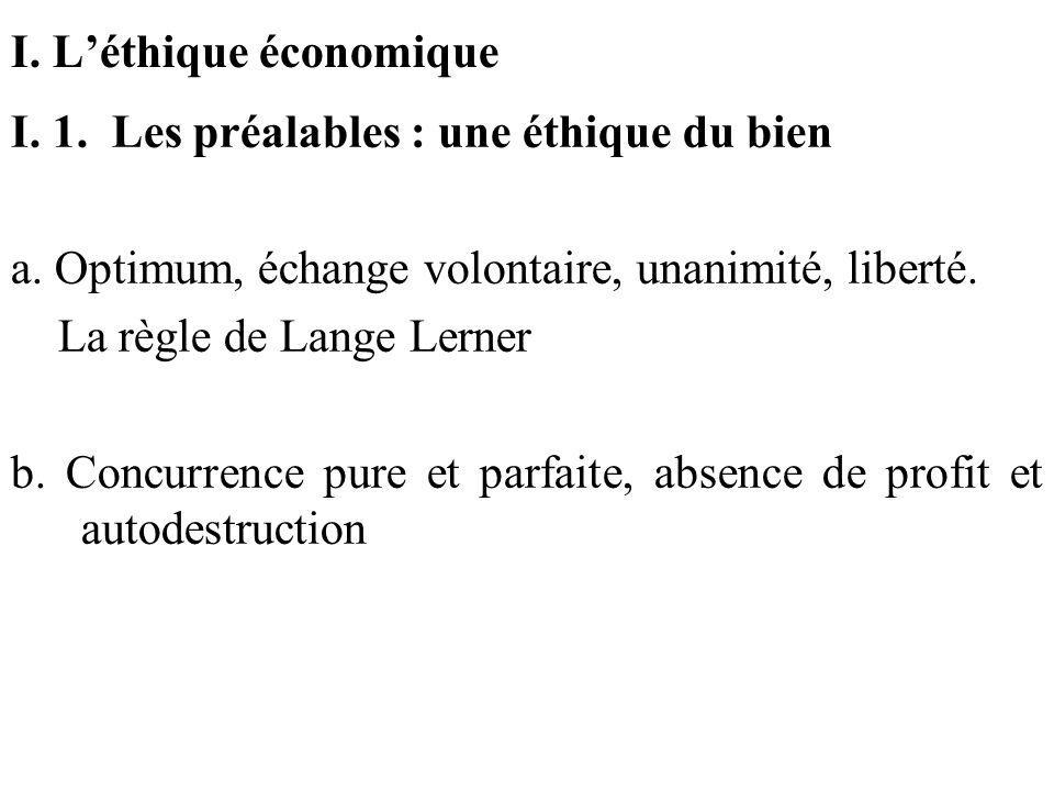 I. Léthique économique I. 1. Les préalables : une éthique du bien a. Optimum, échange volontaire, unanimité, liberté. La règle de Lange Lerner b. Conc